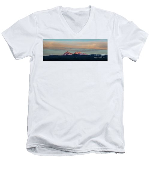 Mount Aragats, The Highest Mountain Of Armenia, At Sunset Under Beautiful Clouds Men's V-Neck T-Shirt