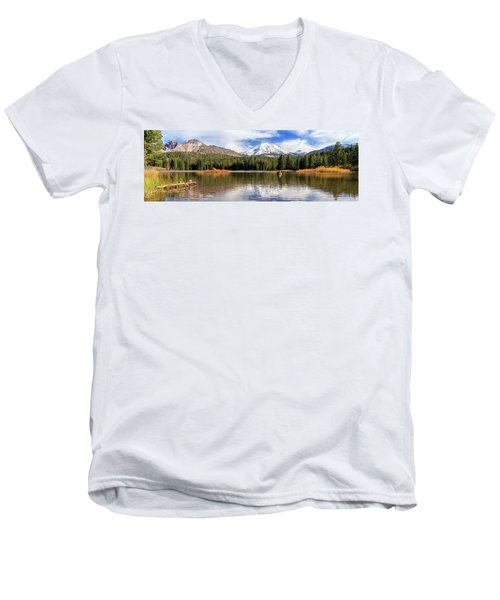 Men's V-Neck T-Shirt featuring the photograph Mount Lassen Autumn Panorama by James Eddy
