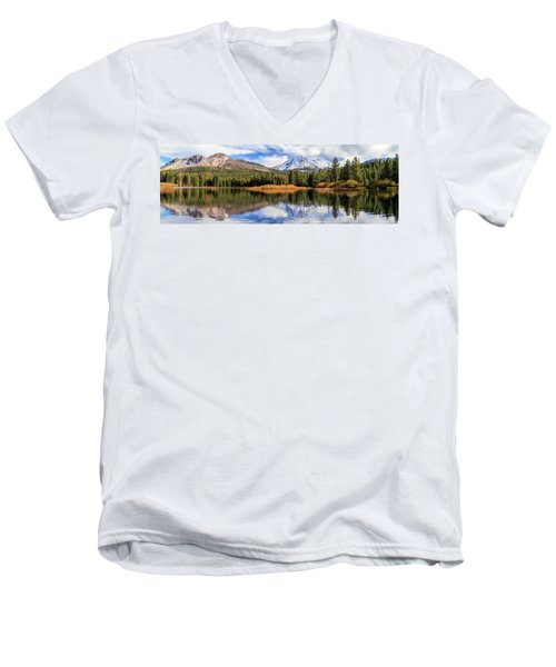 Men's V-Neck T-Shirt featuring the photograph Mount Lassen Reflections Panorama by James Eddy