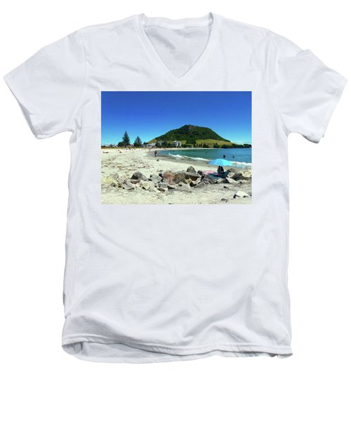 Men's V-Neck T-Shirt featuring the photograph Mount Maunganui Beach 1 - Tauranga New Zealand by Selena Boron