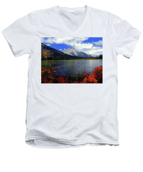 Men's V-Neck T-Shirt featuring the photograph Mount Moran In The Fall by Raymond Salani III