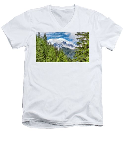 Men's V-Neck T-Shirt featuring the photograph Mount Rainier View by Stephen Stookey