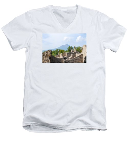 Mount Vesuvius Beyond The Ruins Of Pompei Men's V-Neck T-Shirt