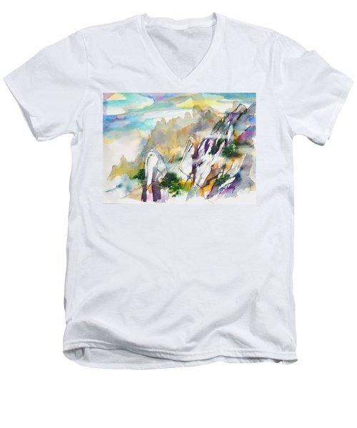 Mountain Awe #2 Men's V-Neck T-Shirt by Betty M M Wong