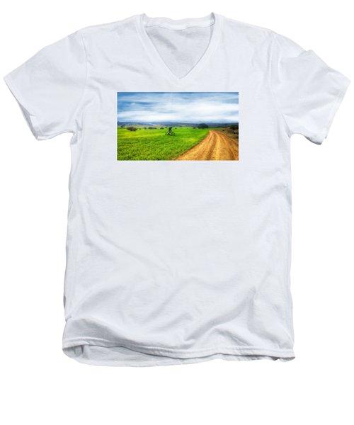 Mountain Biker Cycling Through Green Fields Men's V-Neck T-Shirt