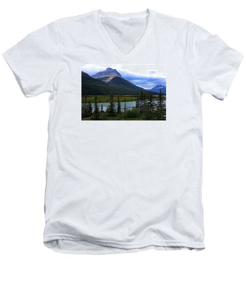 Mountain High Men's V-Neck T-Shirt by Heather Vopni