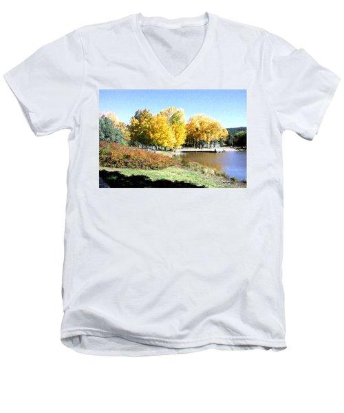 Mountain Lake Autumn Men's V-Neck T-Shirt
