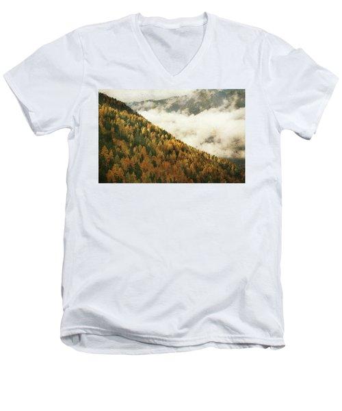 Mountain Landscape Men's V-Neck T-Shirt by Vittorio Chiampan