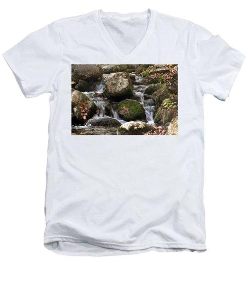 Mountain Stream Through Rocks Men's V-Neck T-Shirt