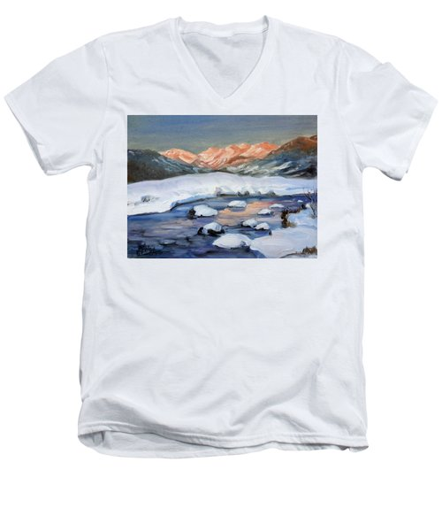 Mountain Winter Landscape 1 Men's V-Neck T-Shirt
