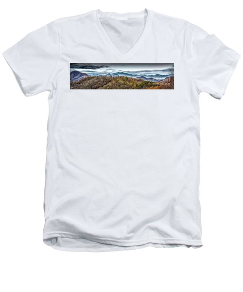 Men's V-Neck T-Shirt featuring the photograph Mountains 2 by Walt Foegelle