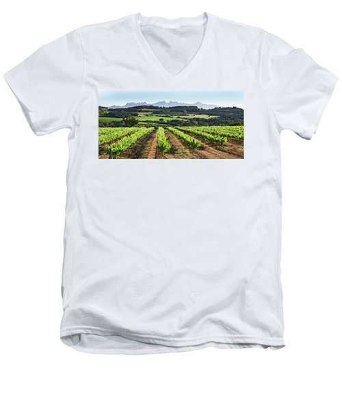 Mountains Of Montserrat Catalunya Men's V-Neck T-Shirt by Gina Dsgn
