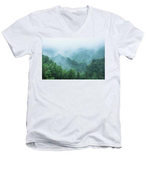 Mountains Scenery In The Mist Men's V-Neck T-Shirt