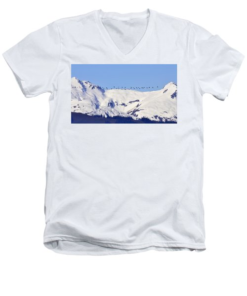 Mountaintop Geese Men's V-Neck T-Shirt