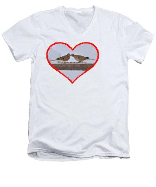 Mourning Doves Kissing Men's V-Neck T-Shirt by Dan Friend