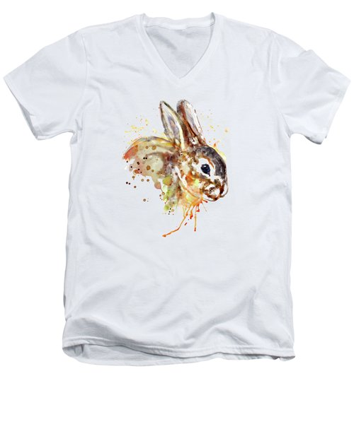 Men's V-Neck T-Shirt featuring the mixed media Mr. Bunny by Marian Voicu