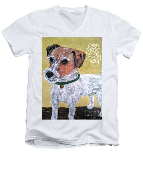 Men's V-Neck T-Shirt featuring the painting Mr. R. Terrier by Reina Resto