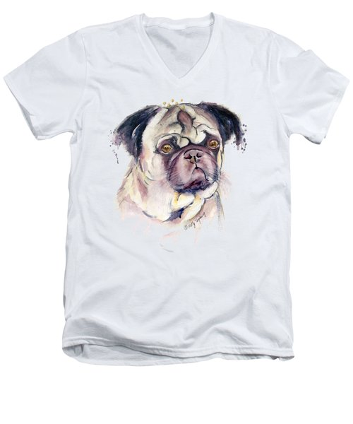 Mr Thinker Pug Watercolor Men's V-Neck T-Shirt by Melly Terpening