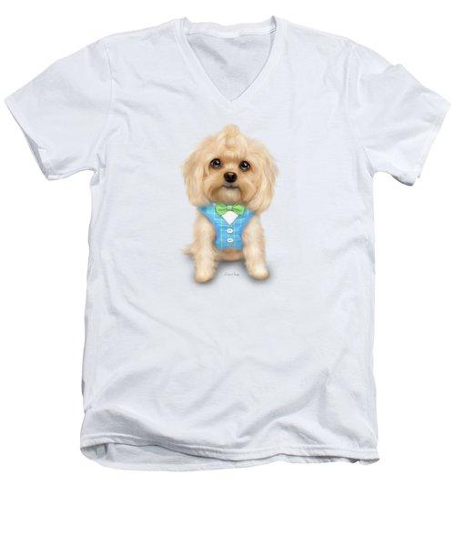 Mr.toby Waffles Men's V-Neck T-Shirt by Catia Cho