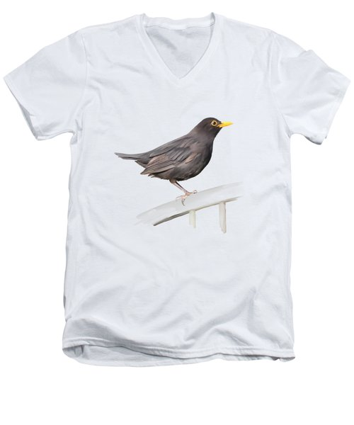 Men's V-Neck T-Shirt featuring the painting Ms. Blackbird Is Brown by Ivana Westin