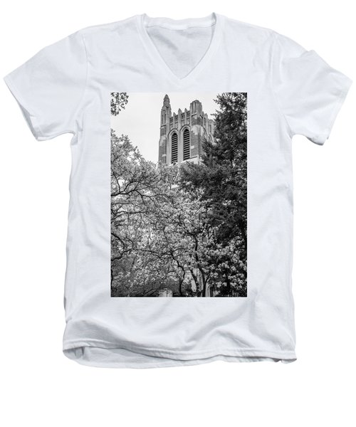Msu Beaumont Tower Black And White 3 Men's V-Neck T-Shirt