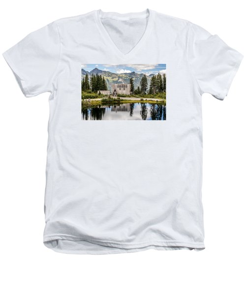 Mt Baker Lodge In Picture Lake 1 Men's V-Neck T-Shirt by Rob Green