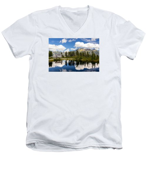Mt Baker Lodge Reflection In Picture Lake 2 Men's V-Neck T-Shirt by Rob Green