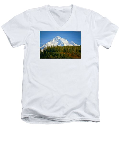 Mt Hood In Winter Men's V-Neck T-Shirt