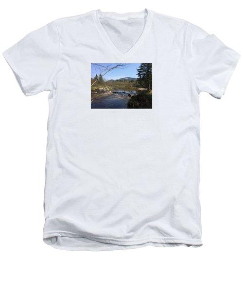 Mt. Katahdin Men's V-Neck T-Shirt by Robin Regan