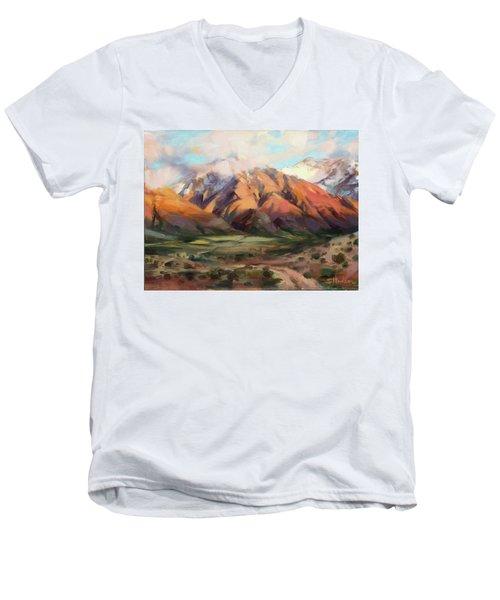 Men's V-Neck T-Shirt featuring the painting Mt Nebo Range by Steve Henderson