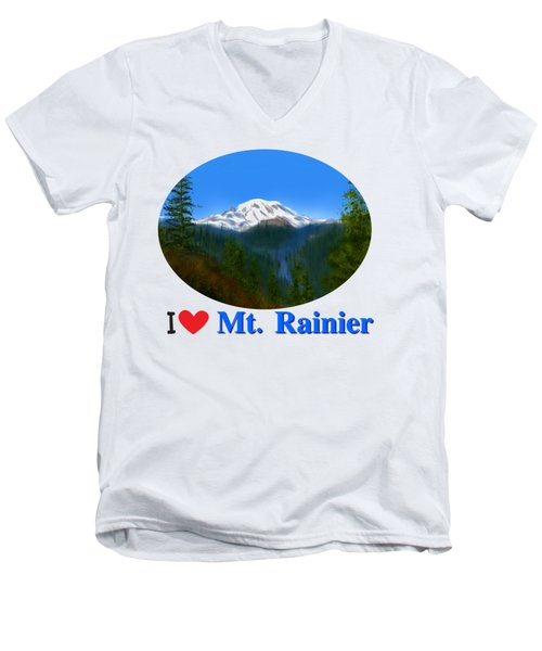 Mt Rainier Men's V-Neck T-Shirt