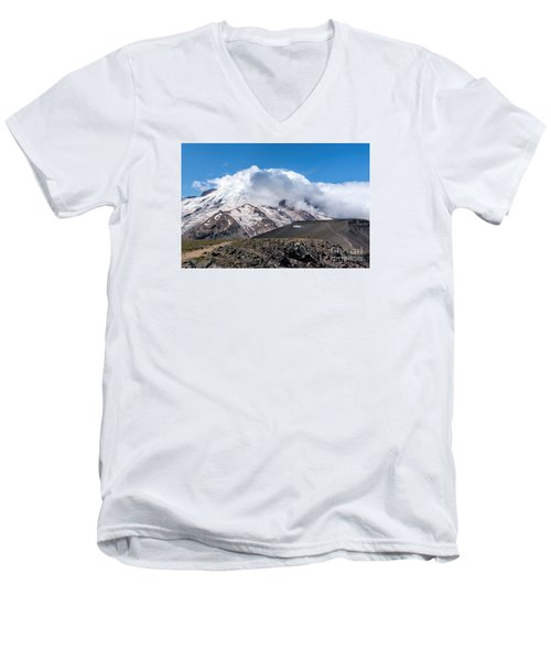 Mt Rainier In The Clouds Men's V-Neck T-Shirt by Sharon Seaward