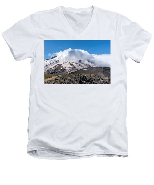 Mt Rainier In The Clouds Men's V-Neck T-Shirt