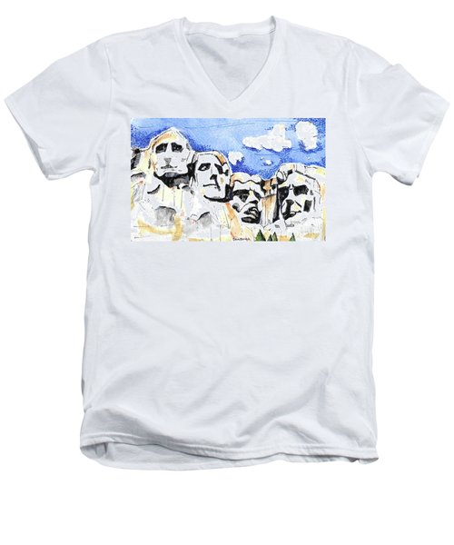 Mt. Rushmore, Usa Men's V-Neck T-Shirt by Terry Banderas