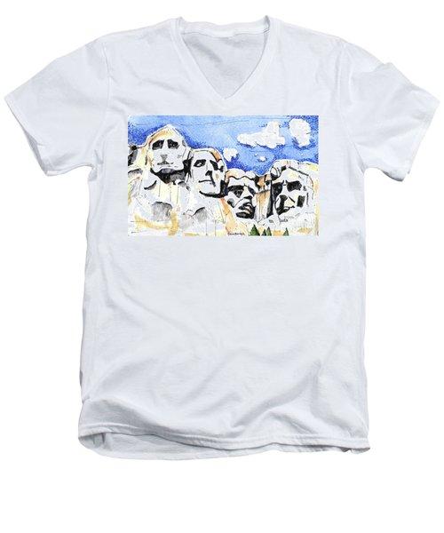 Mt. Rushmore, Usa Men's V-Neck T-Shirt