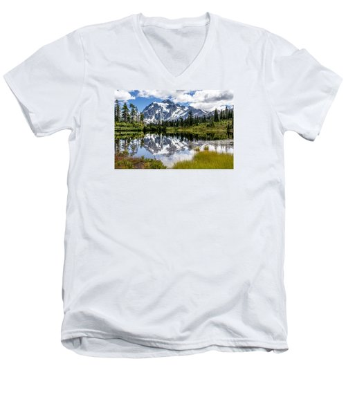 Mt Shuksan On Picture Lake 1 Men's V-Neck T-Shirt by Rob Green