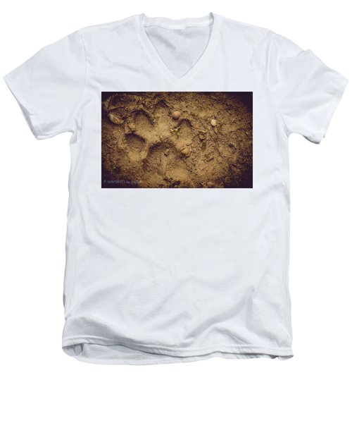 Muddy Pup Men's V-Neck T-Shirt by Stefanie Silva