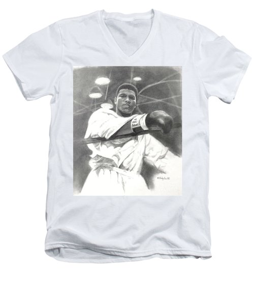 Men's V-Neck T-Shirt featuring the drawing Young Cassius Clay by Noe Peralez
