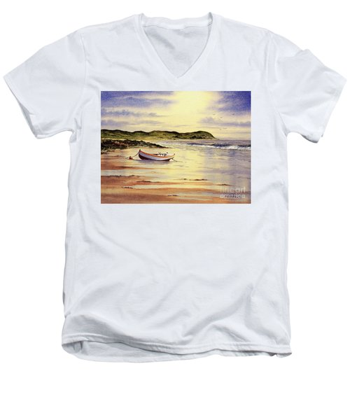 Men's V-Neck T-Shirt featuring the painting Mull Of Kintyre Scotland by Bill Holkham