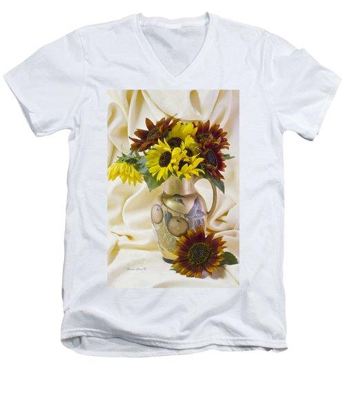 Multi Color Sunflowers Men's V-Neck T-Shirt by Sandra Foster