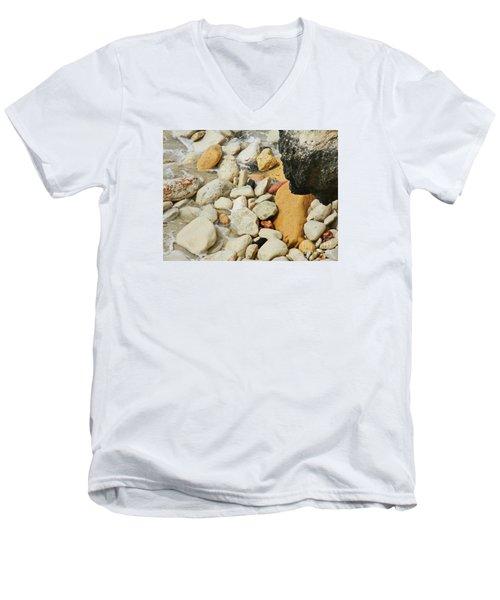 multi colored Beach rocks Men's V-Neck T-Shirt
