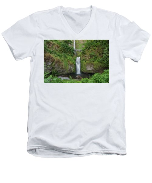 Men's V-Neck T-Shirt featuring the photograph Multnomah Falls In Spring by Greg Nyquist