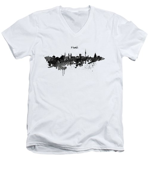 Munich Black And White Skyline Silhouette Men's V-Neck T-Shirt by Marian Voicu