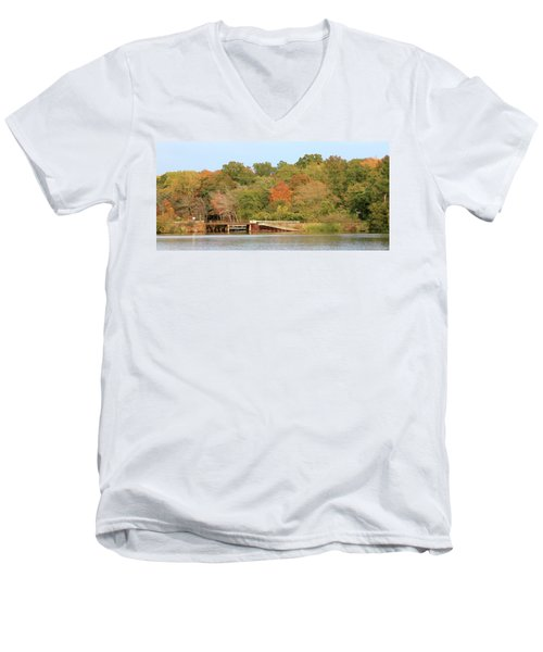 Murphy Mill Dam/bridge Men's V-Neck T-Shirt by Jerry Battle