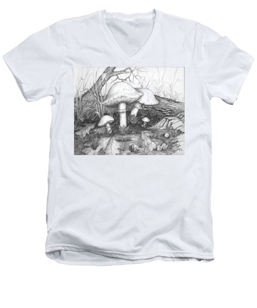 Mushrooms -pencil Study Men's V-Neck T-Shirt by Doug Kreuger
