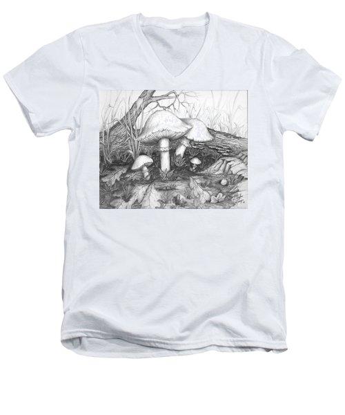 Mushrooms -pencil Study Men's V-Neck T-Shirt
