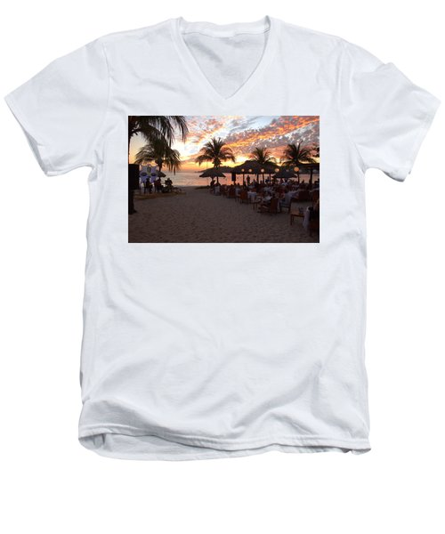 Men's V-Neck T-Shirt featuring the photograph Music And Dining On The Beach by Jim Walls PhotoArtist