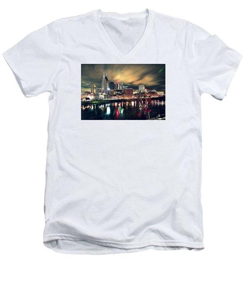Music City Midnight Men's V-Neck T-Shirt by Matt Helm