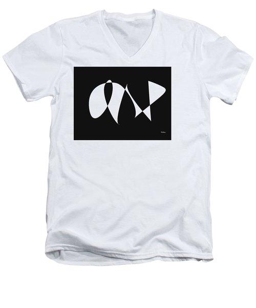 Men's V-Neck T-Shirt featuring the digital art Music Notes 9 by David Bridburg