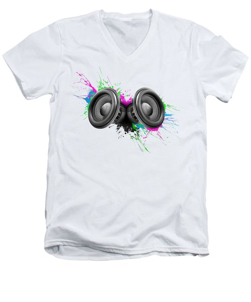 Music Speakers Colorful Design Men's V-Neck T-Shirt